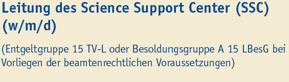 Leitung des Science Support Center (SSC) (m/w/d) - Uni Duisburg-Essen - Titel