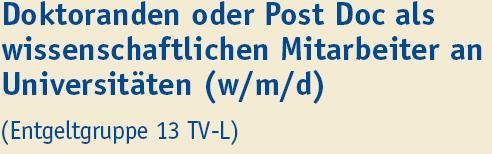 Doktorand oder Post Doc als wissenschaftlicher Mitarbeiter - Uni Duisburg-Essen - Titel